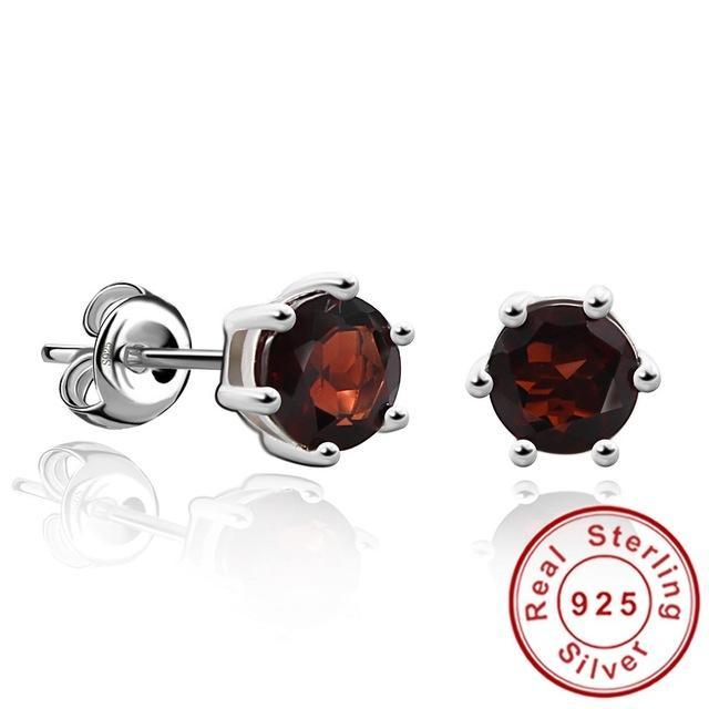 CNS Deals - The Deals Are Here Women Earrings Natural Garnet / United States Round 1.2ct Gemstone Natural Amethyst Citrine Garnet Peridot Blue Topaz Stud Earrings