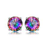 CNS Deals - The Deals Are Here Women Earrings Natural Mystic Rainbow Topaz Stud Earrings