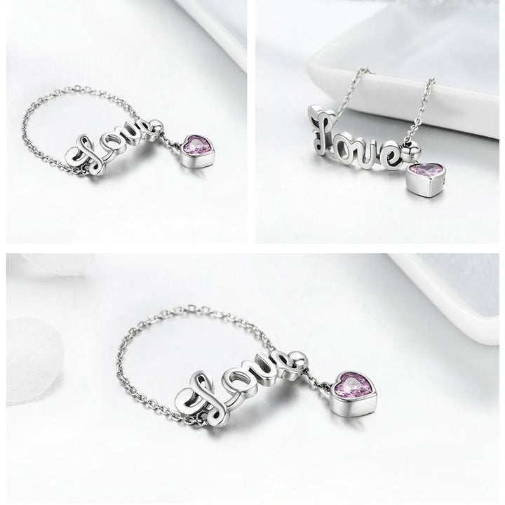 CNS Deals - The Deals Are Here Women Ring 925 Sterling Silver Love Letter Adjustable Finger Ring