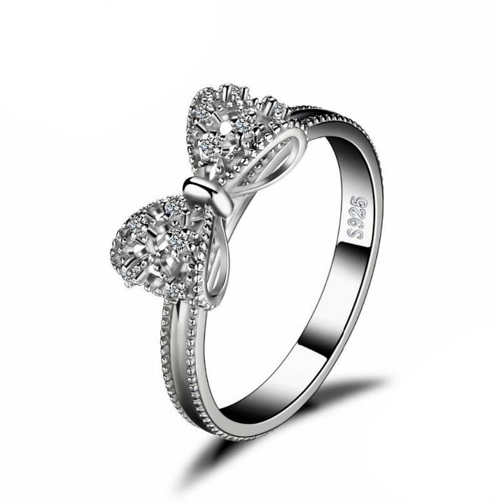 CNS Deals - The Deals Are Here Women Ring Bow Solid 925 Sterling Silver Wedding Ring High Grade Cubic Zirconia