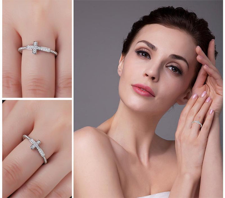 CNS Deals - The Deals Are Here Women Ring Cross Round Cubic Zirconia Peace Statement Ring