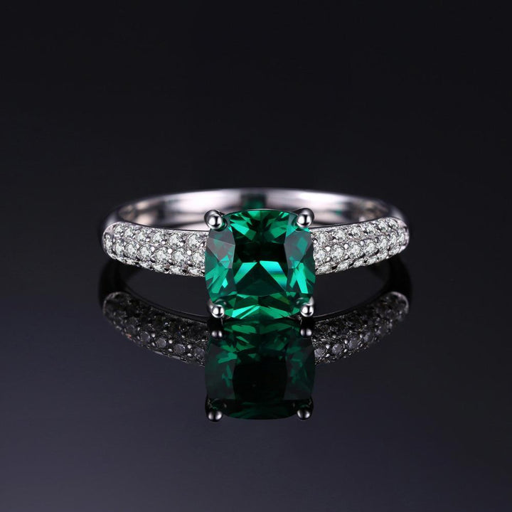 CNS Deals - The Deals Are Here Women Ring Cushion 1.8ct Green Emerald Solitaire Ring For Women