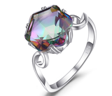 CNS Deals - The Deals Are Here Women Ring Genuine Rainbow Fire Mystic Topaz Ring Solid 925 Sterling Silver