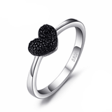 CNS Deals - The Deals Are Here Women Ring Natural Black Spinel Love Heart Ring 100% 925 Sterling Silver
