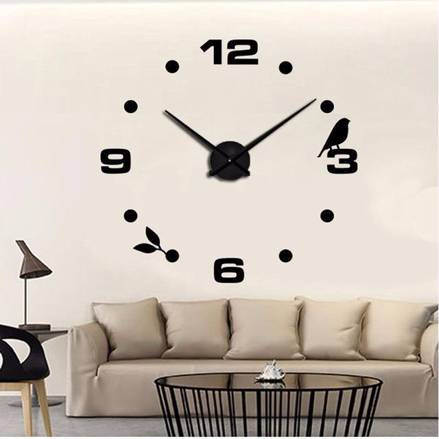 CNS Deals Wall Clock black / 47inch Large Bird 3D Mirror DIY Quartz Wall Clock