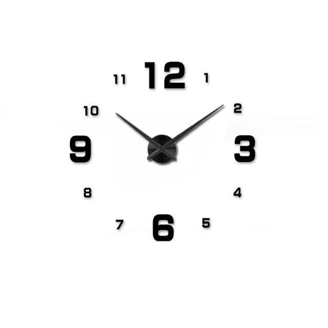 CNS Deals Wall Clock black / 47inch Mirror 3D DIY Wall Clock with Unique Designs