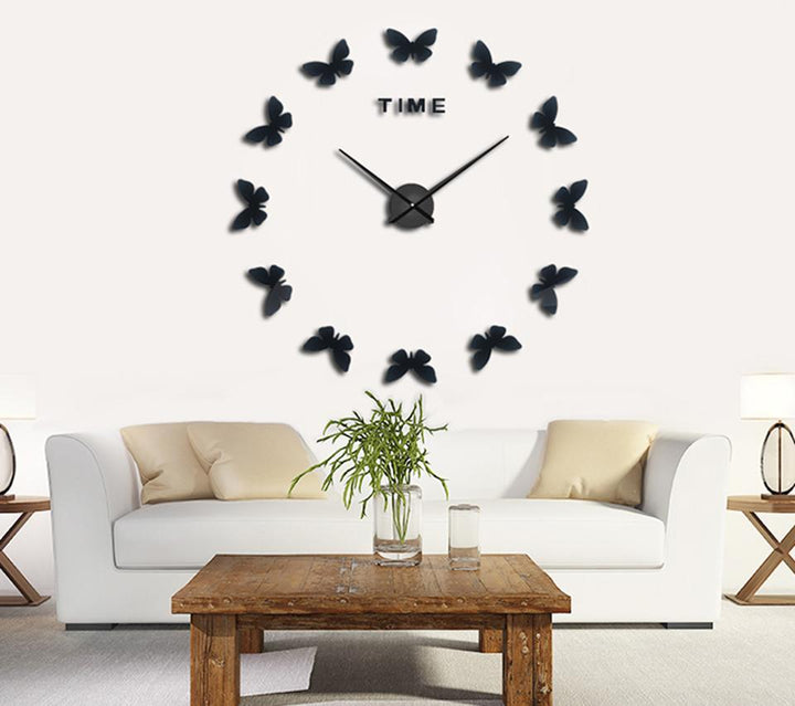 CNS Deals Wall Clock black / 47inch Wall Stickers Home Decor 3D Butterfly Wall Clock