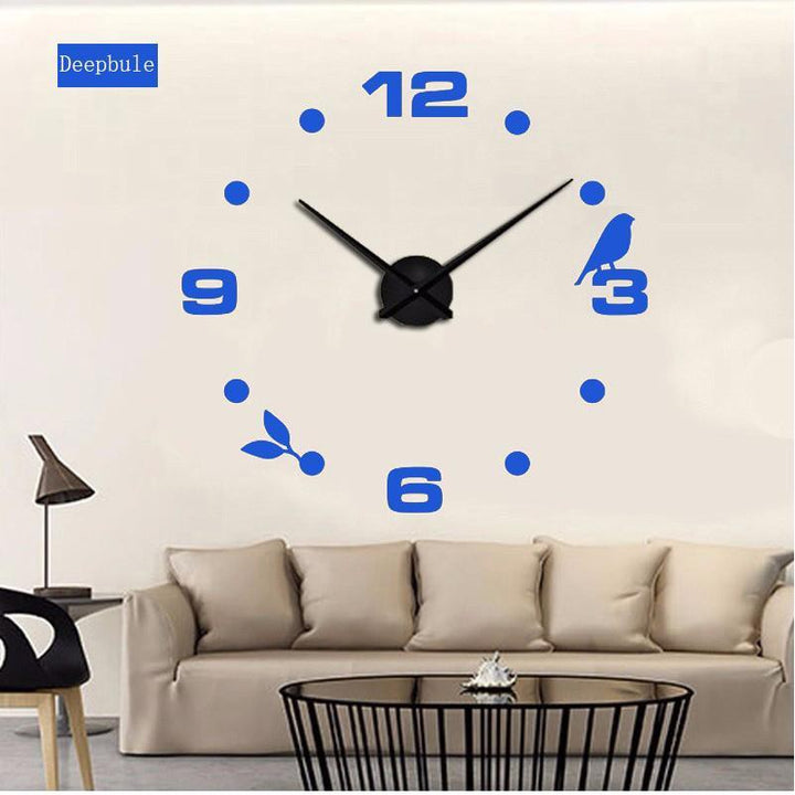CNS Deals Wall Clock blue / 47inch Large Bird 3D Mirror DIY Quartz Wall Clock