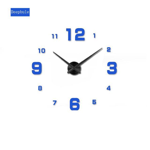 CNS Deals Wall Clock blue / 47inch Mirror 3D DIY Wall Clock with Unique Designs