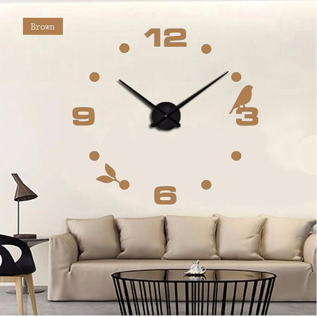 CNS Deals Wall Clock chocolate / 47inch Large Bird 3D Mirror DIY Quartz Wall Clock