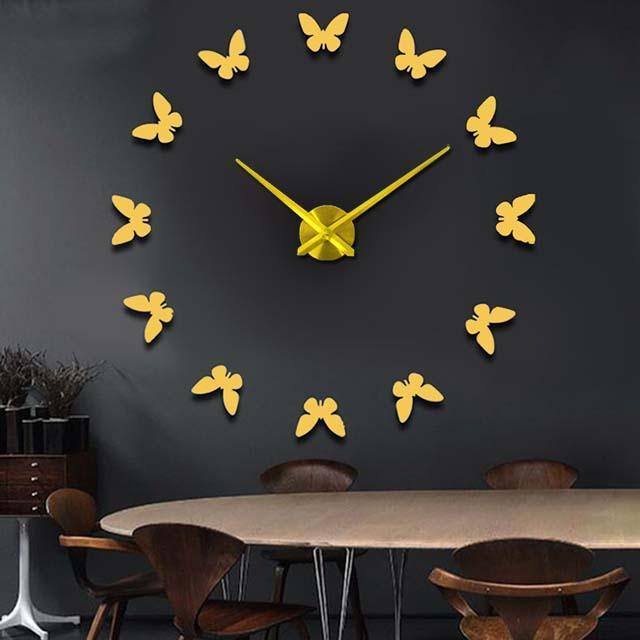 CNS Deals Wall Clock gold / 47inch Wall Stickers Home Decor 3D Butterfly Wall Clock