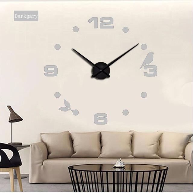 CNS Deals Wall Clock gray / 47inch Large Bird 3D Mirror DIY Quartz Wall Clock