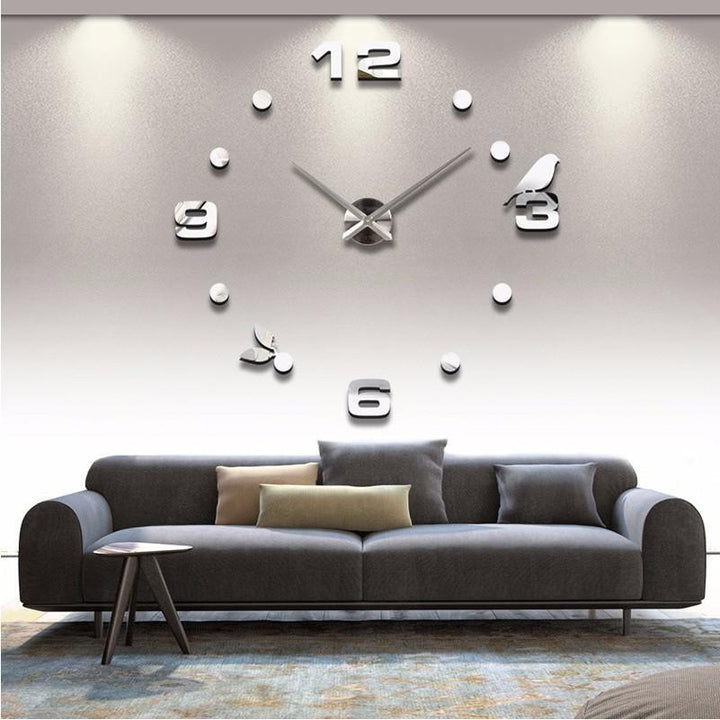 CNS Deals Wall Clock Large Bird 3D Mirror DIY Quartz Wall Clock