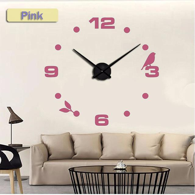 CNS Deals Wall Clock pink / 47inch Large Bird 3D Mirror DIY Quartz Wall Clock