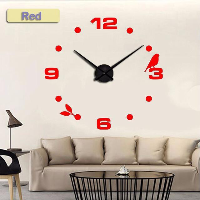 CNS Deals Wall Clock red / 47inch Large Bird 3D Mirror DIY Quartz Wall Clock