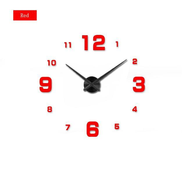 CNS Deals Wall Clock red / 47inch Mirror 3D DIY Wall Clock with Unique Designs