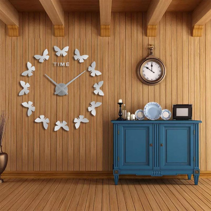CNS Deals Wall Clock silver / 47inch Wall Stickers Home Decor 3D Butterfly Wall Clock
