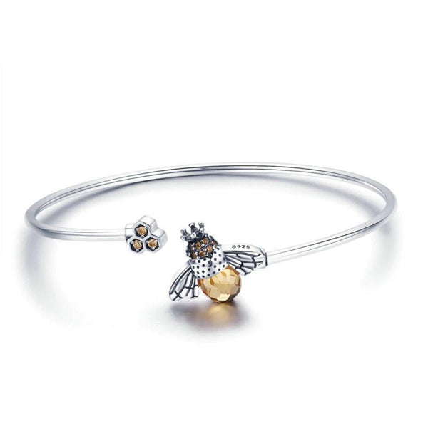 Crystal Bee & Honeycomb 925 Sterling Silver Open Bangle B01