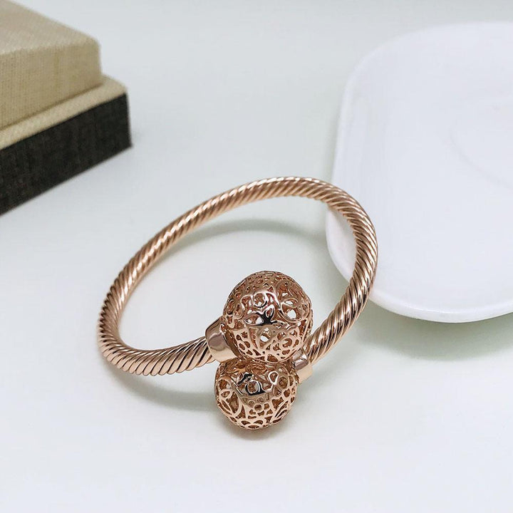 CNS Deals Women Bangle Rose Gold Color Fancy Hollow Round Ball Bead Rose Gold Plated Fashion Bangle V02