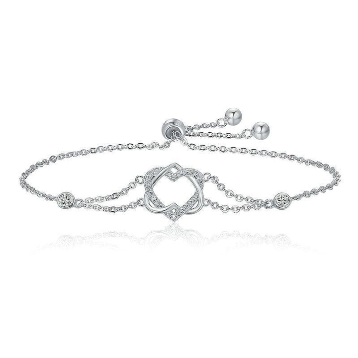 CNS Deals Women Bracelet 925 Sterling Silver Twisted Double Heart in Heart Chain Bracelet