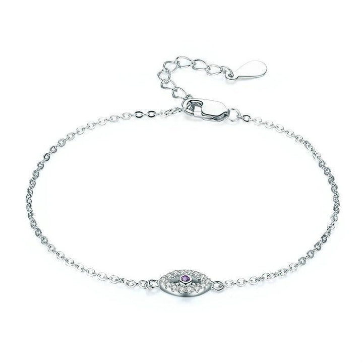 CNS Deals Women Bracelet Adjustable Link Chain Bracelet with Purple Eye Festoon