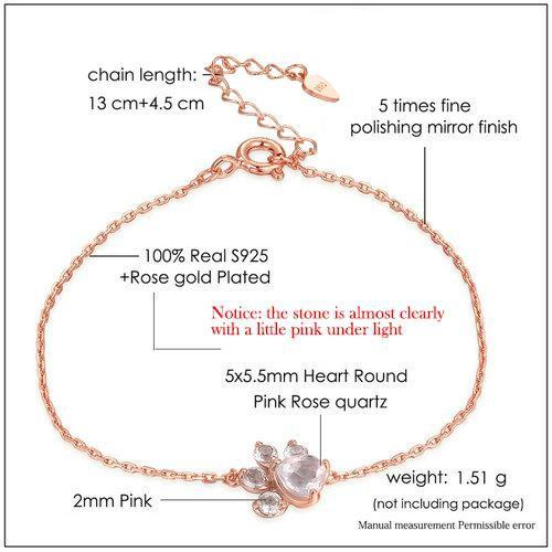 CNS Deals Women Bracelet Bear Paw 5X5.5mm Natural Heart Pink Rose Quartz Rose Gold Bracelet