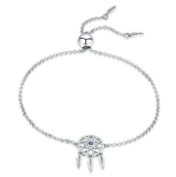 Purple Stone Dream Catcher 100% 925 Sterling Silver Bracelet B01