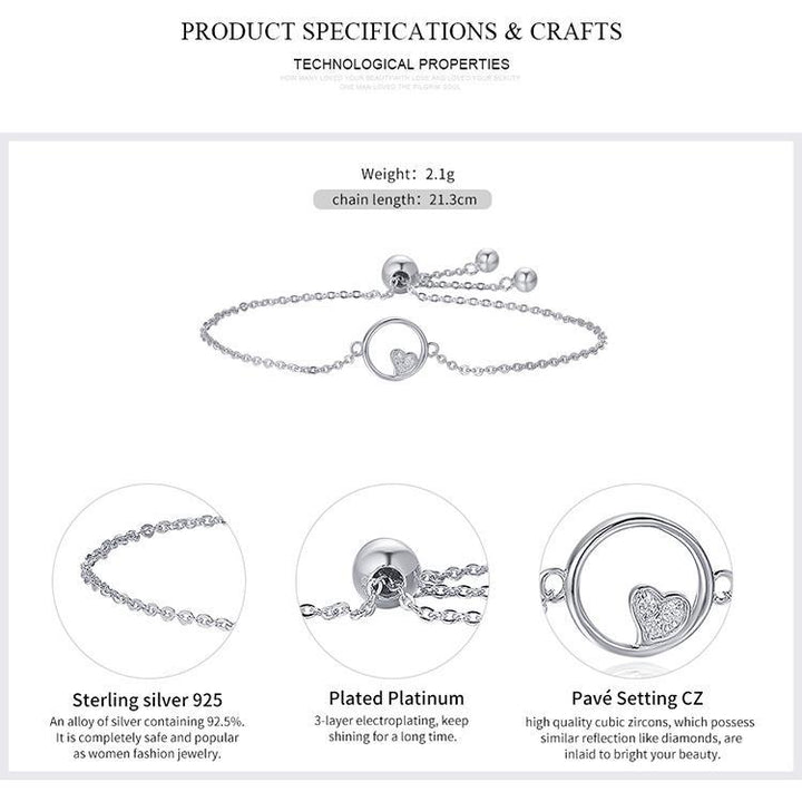 CNS Deals Women Bracelet Genuine 925 Sterling Silver Heart In Circle Chain Bracelet
