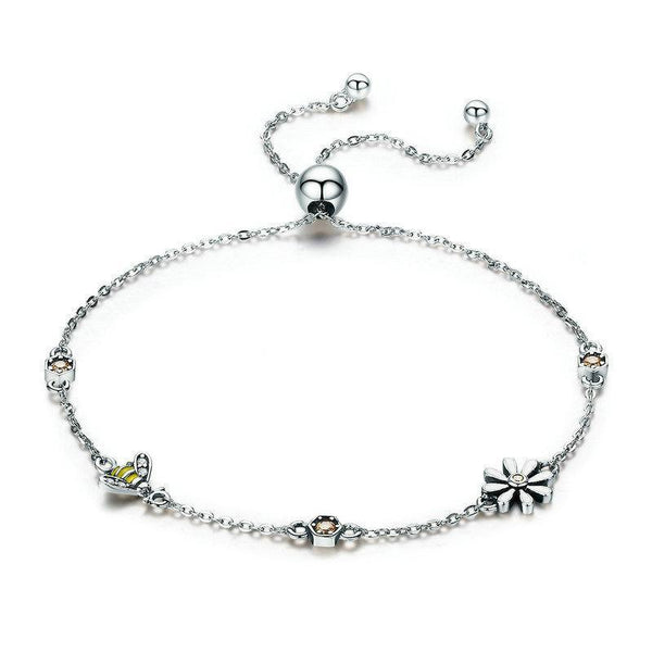 Honeycomb Daisy Flower & Bee 925 Sterling Silver Bracelet B01