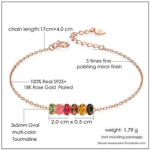 CNS Deals Women Bracelet Natural 6pcs Multi-Color Oval Tourmaline Rose Gold Bracelet