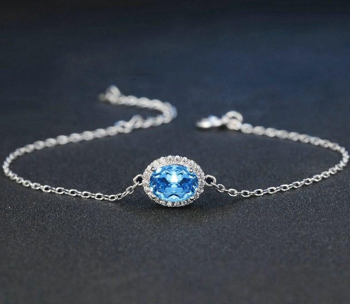 CNS Deals Women Bracelet Natural Oval Blue Topaz 925 Sterling Silver Charm Bracelet