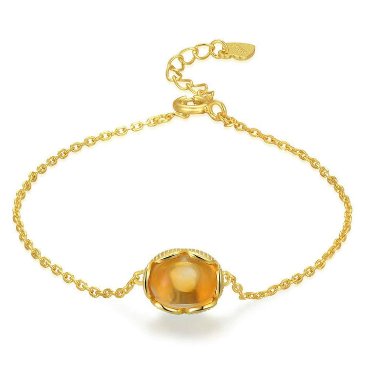 CNS Deals Women Bracelet Natural Oval Citrine 14K Yellow Gold Chain Charm Bracelet