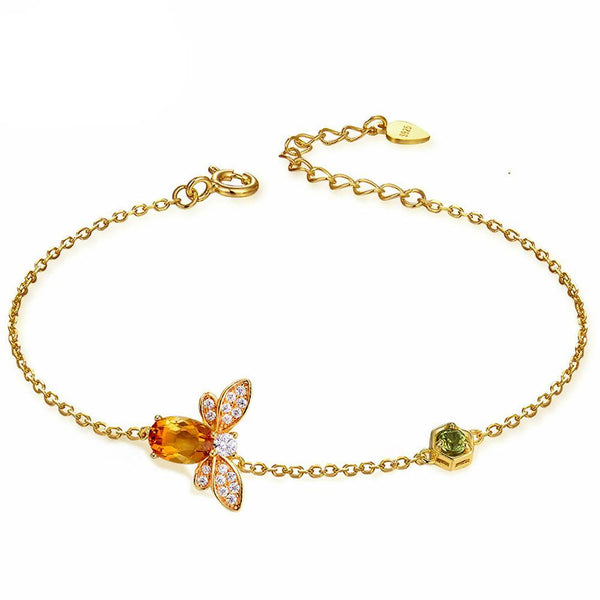 Natural Oval Citrine Flying Bee 14K Yellow Gold Chain Charm Bracelet