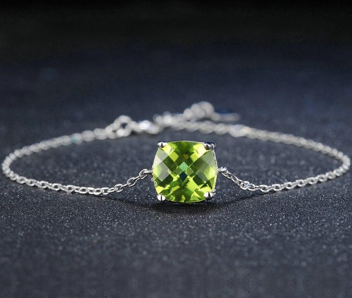 CNS Deals Women Bracelet Natural Peridot 925 Sterling Silver Chain Charm Bracelet