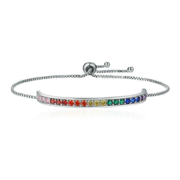 Rainbow Crystal Stamp Chain Link Platinum Plated Bracelet B01