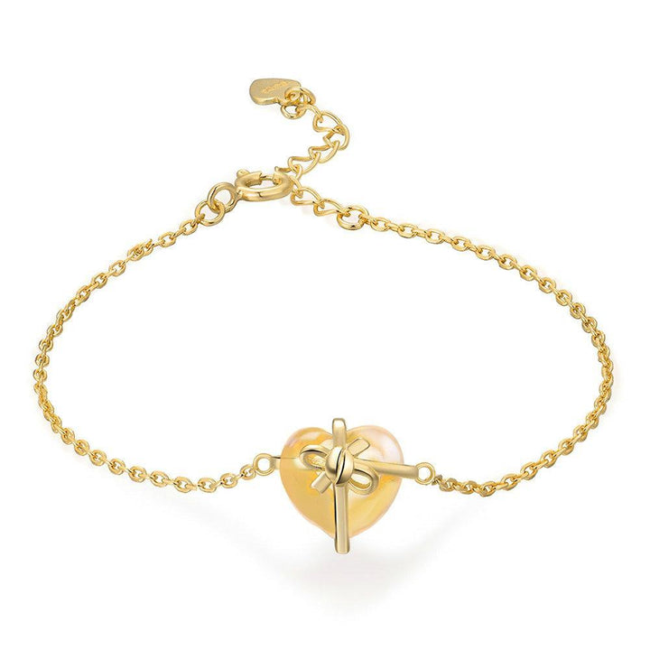 CNS Deals Women Bracelet Romantic Heart Natural Citrine 14K Yellow Gold Chain Charm Bracelet