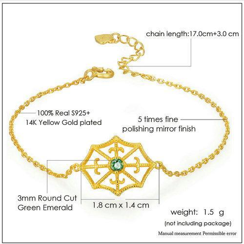 CNS Deals Women Bracelet Spider Web 2.5mm Round Cut Emerald 14K Gold Plated Charm Bracelet