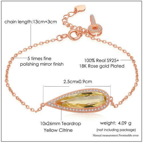 CNS Deals Women Bracelet Teardrop Luxury Natural Citrine Rose Gold Chain Charm Bracelet