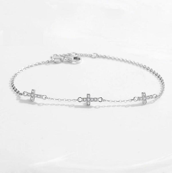 Tiny Shiny Cross Genuine 925 Sterling Silver Trendy Bracelet K01