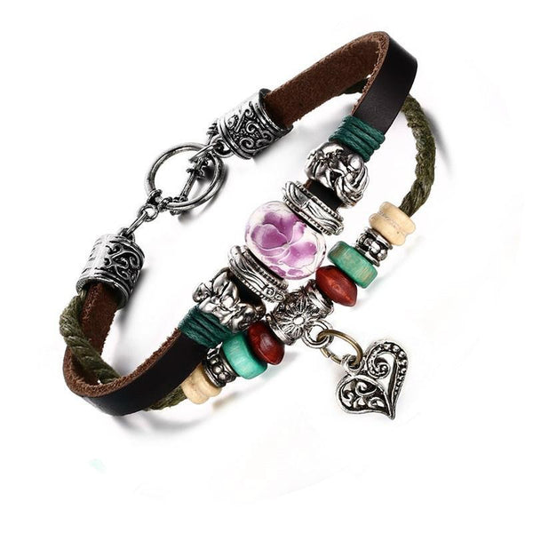 Vintage Bohemian Leather Charm Bracelet with Porcelain Bead