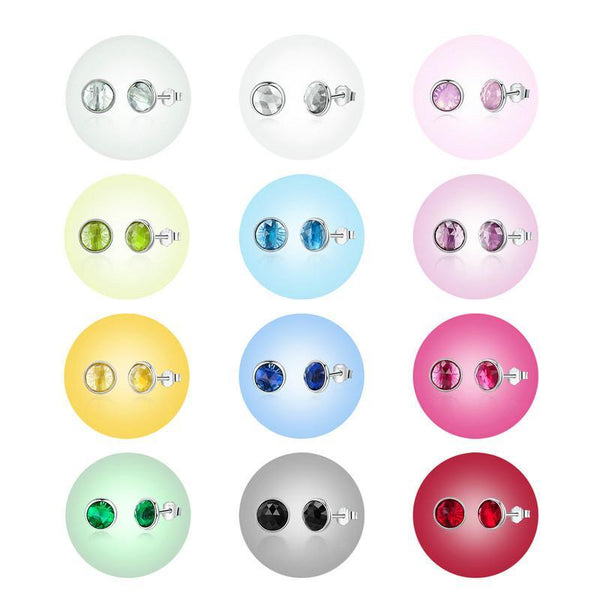 12 Months Birthstone Droplets 925 Sterling Silver Stud Earrings B01