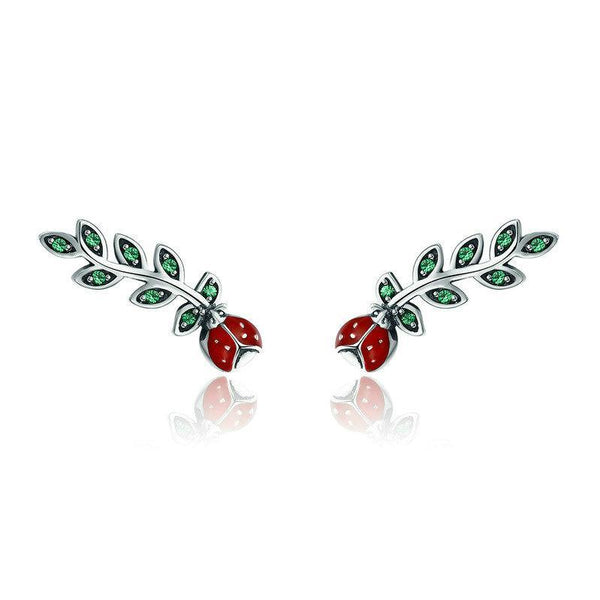 Crawling Ladybug 925 Sterling Silver Stud Earrings B01