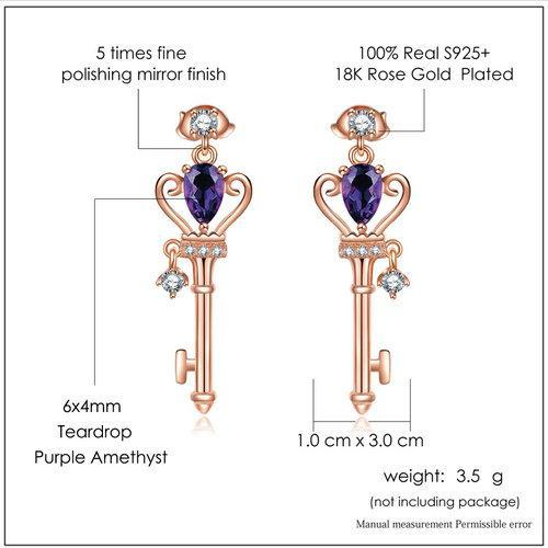 CNS Deals Women Earrings Crown Key Stud Earrings Natural Teardrop Amethyst