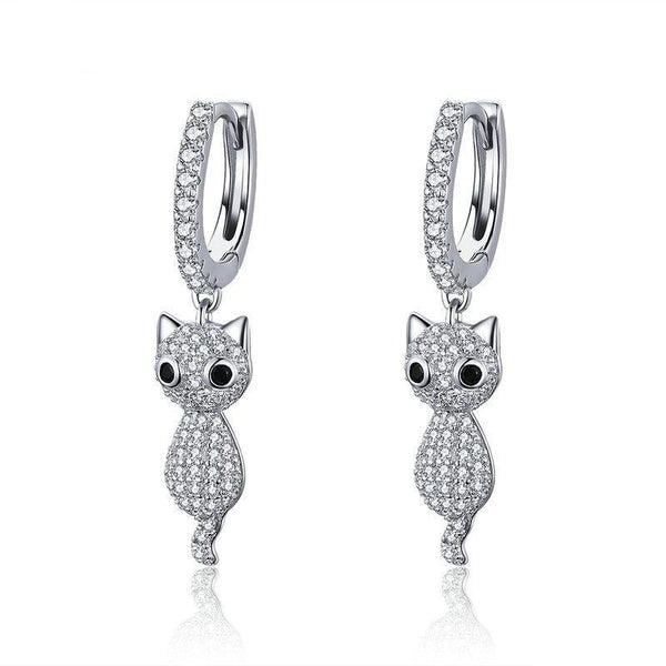 Dangling Cute Crystal Cats 925 Sterling Silver Drop Earrings B01