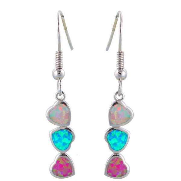 Dangling Lovely Colorful Opal Heart Silver Tone Drop Earrings R01