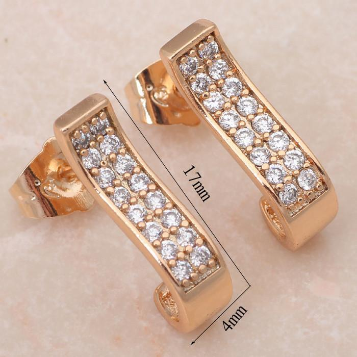 CNS Deals Women Earrings Dazzling CZ Pave Rose Gold Plated Women Fashion Stud Earrings R01