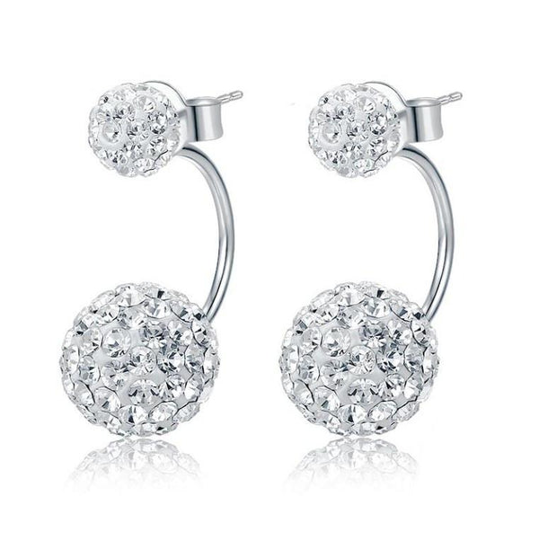 Dazzling Disco Mirror Balls 925 Sterling Silver Trendy Stud Earrings K01