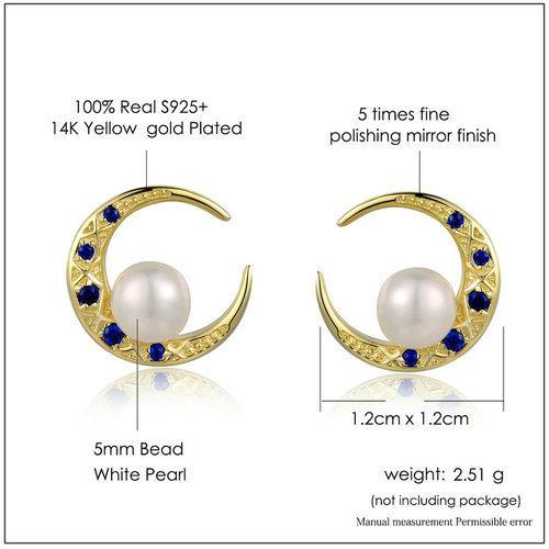 CNS Deals Women Earrings Freshwater Pearl Moon 14K Yellow Gold Stud Earrings