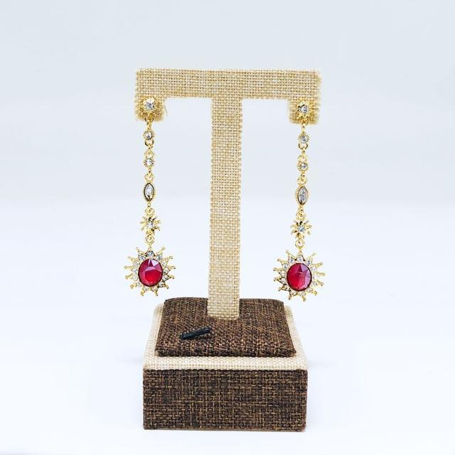 CNS Deals Women Earrings Gold color Stunning Crystal Sunflower Hanging Gold Plated Dangle Earrings V02