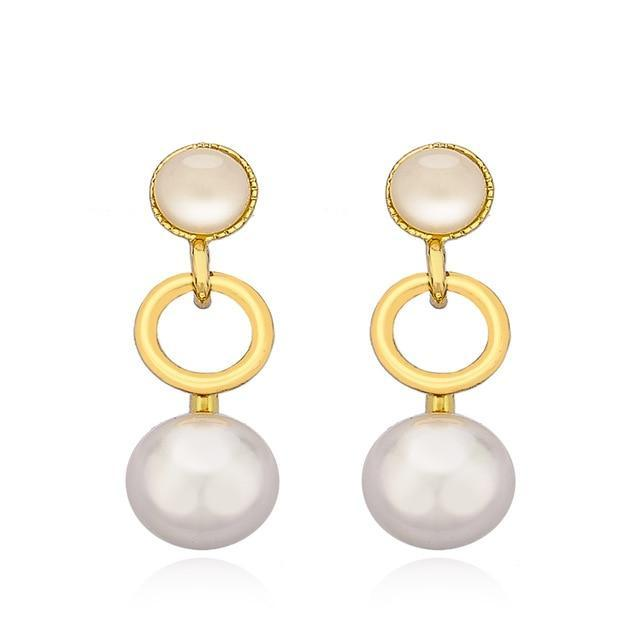 CNS Deals Women Earrings Gold Color Stunning Dangling Pearl Circle Rose Gold Plated Drop Earrings V02